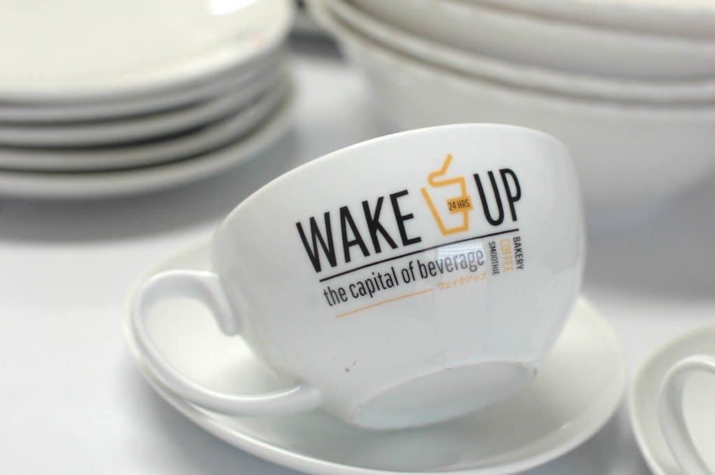 ชุดกาแฟเซรามิค,wakeup coffee,เซรามิค,white,wakeup